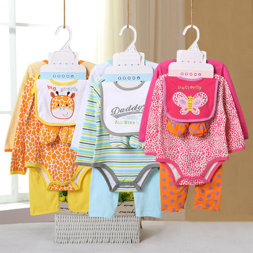 5 Pcs 100% Cotton Baby Boy & Girl Set INCL 2 Bodysuit + Pant + Bib + Socks - A Little Kiddie