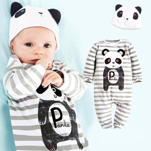 2 pcs Super Cute Animal Baby Set With Coverall Bodysuit + Hat For 9 - 24M - A Little Kiddie