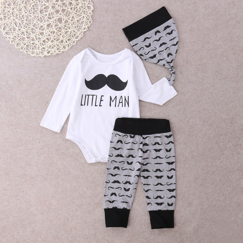 Little Man 3 PCS Set With Long Sleeves Romper + Long Pants + Hat