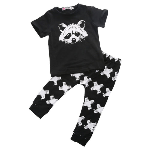 2 pcs Raccoon Geometric Organic Baby Set Wit T-shirt + Pants For 0 - 24 M - A Little Kiddie