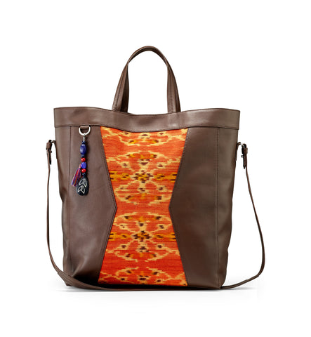 BROWN/ORANGE IKAT TOTE BAG