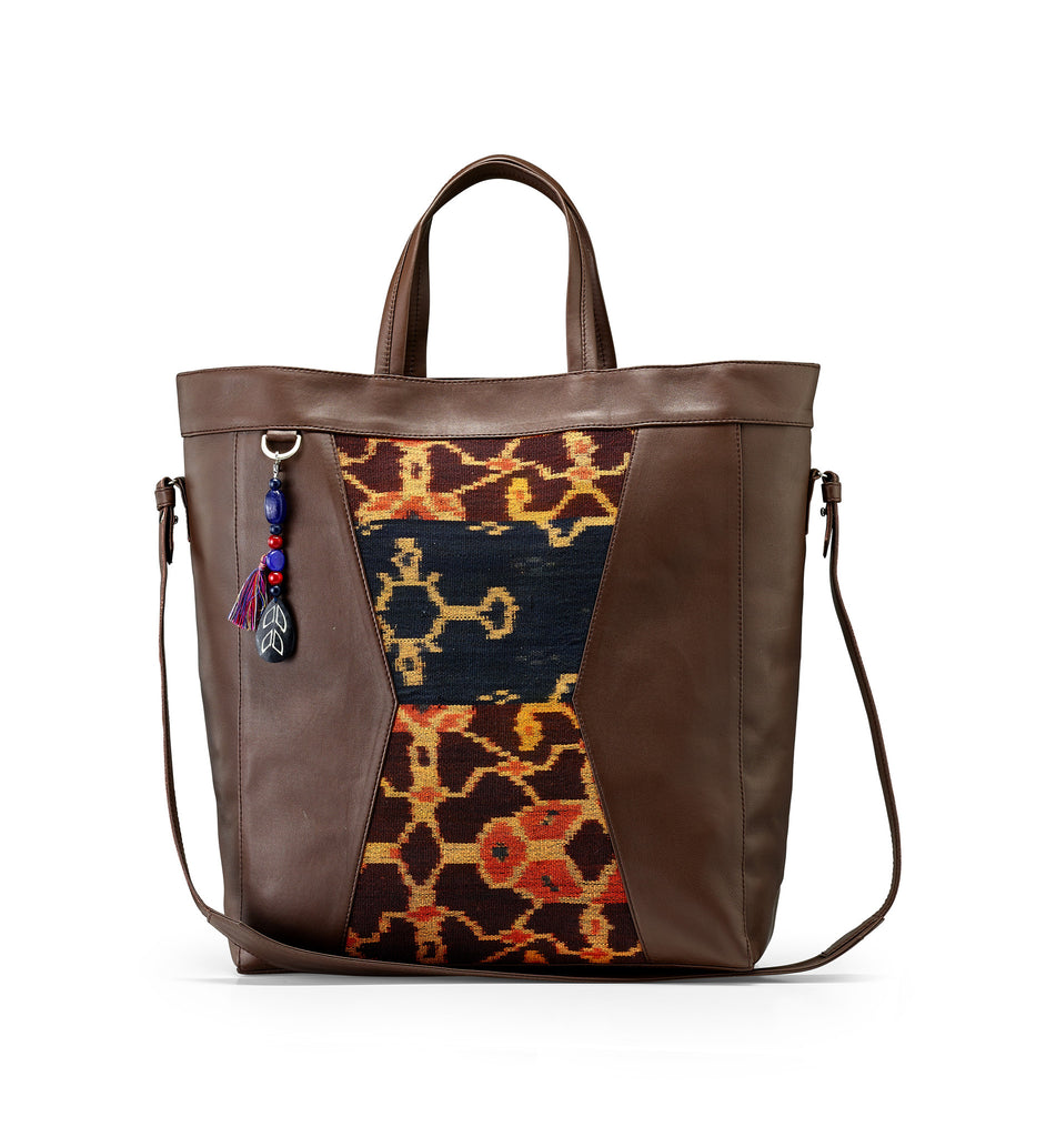 BROWN SUMBA IKAT TOTE BAG