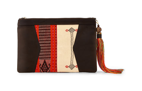 RED/WHITE TIMOR IKAT CLUTCH