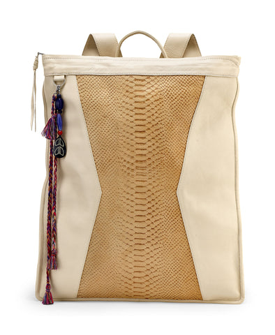 CREAM LEATHER BACKPACK WITH EMBOSSED SNAKE PATTERN