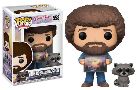 Funko POP! Television Bob Ross (w/ Raccoon) Vinyl Figure (CHANCE OF CHASE) NEW