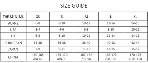 The MNML Size Chart