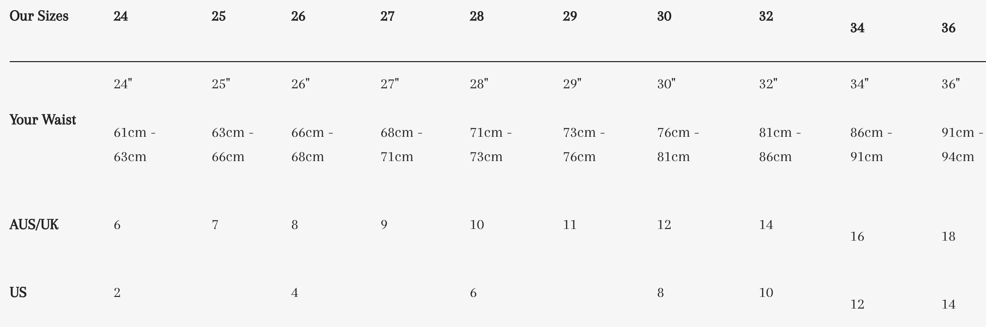 Justice Denim Size Guide
