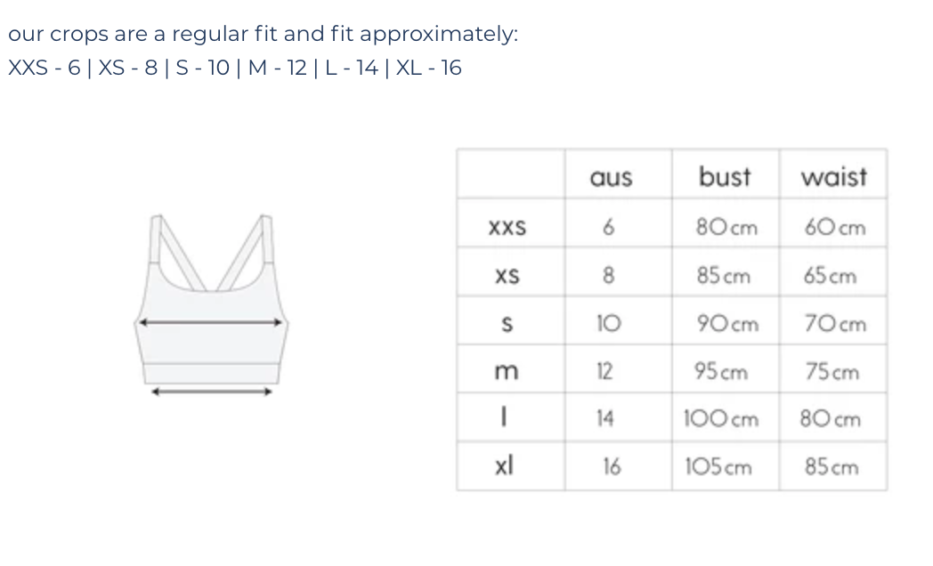 Crop Top Size Guide | Sustainable Activewear | Australia | Melbourne | Ecomono