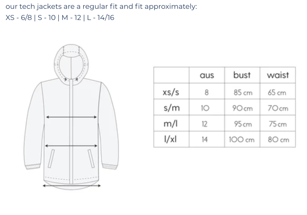 Size Chart | Sustainable Activewear | Rain Jacket | Australia | Melboune