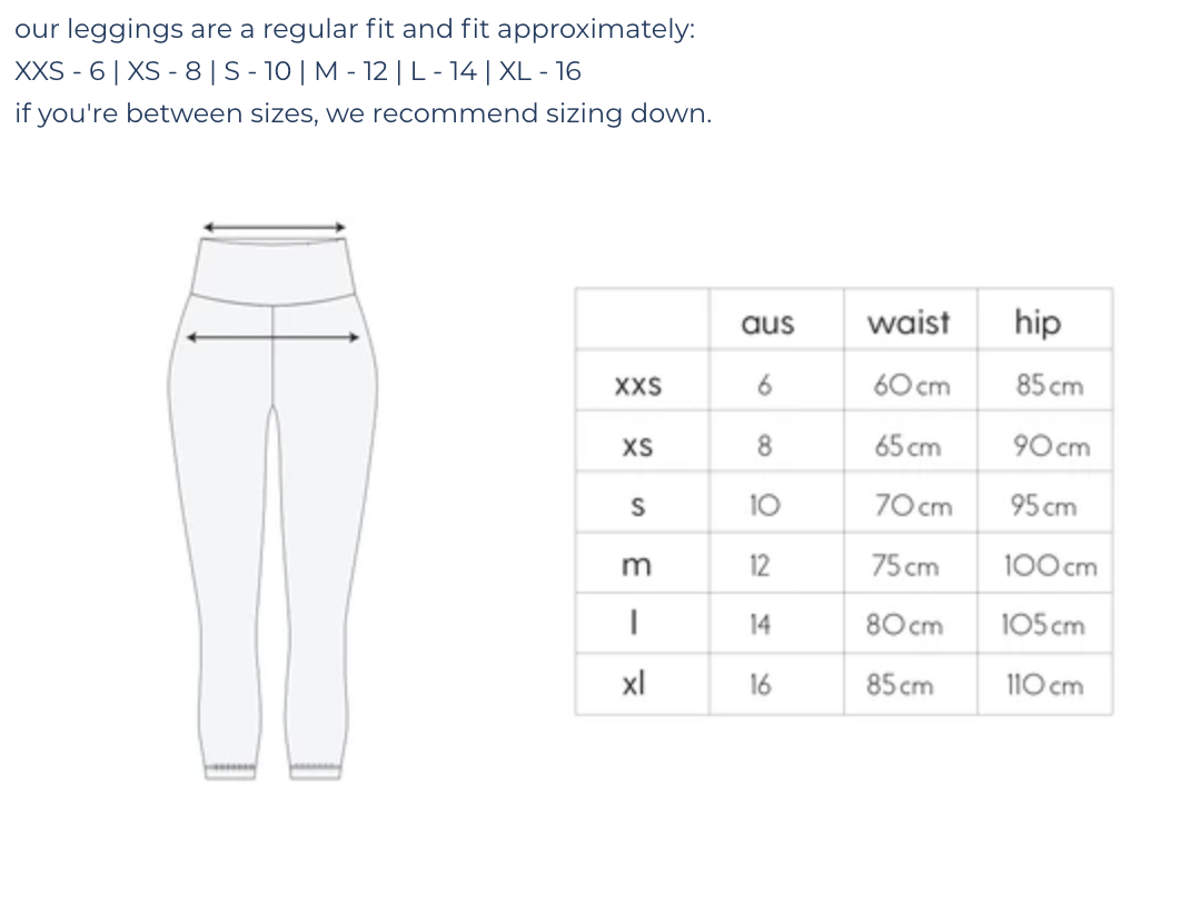Size Chart | Sustainable Activewear | Made From Plastic Bottles