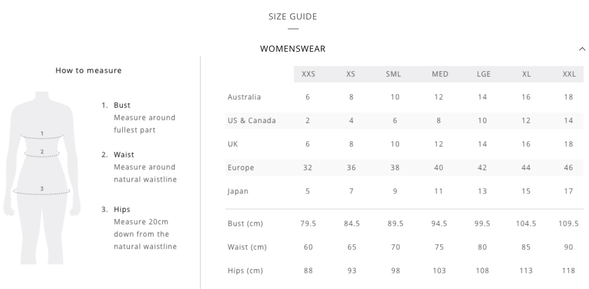 Elk | Ethical Fashion Australia | Size Guide
