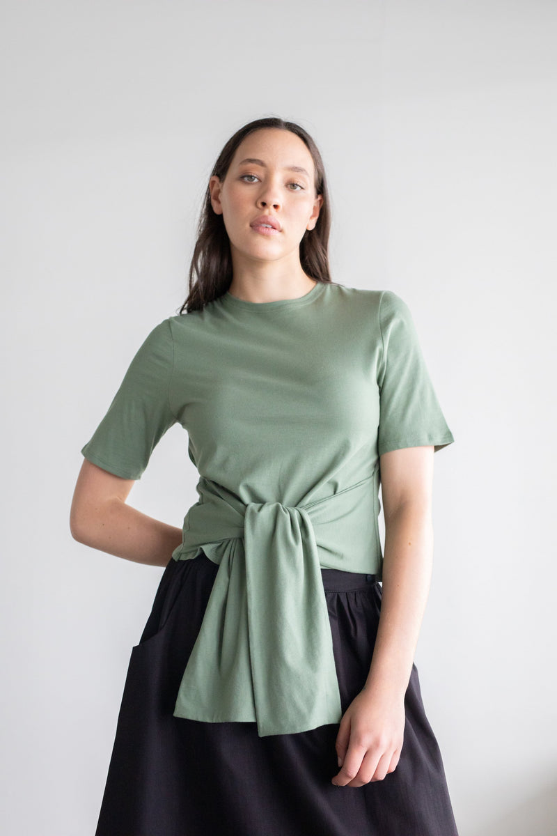 Repose Top Khaki | ReCreate Clothing | Ethically Made Tops Australia