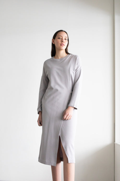 Mantle Sweater Dress Taupe Grey | ReCreate Clothing | Ethical Dresses
