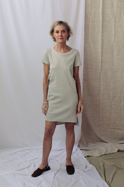 Lois Hazel Smooth Rib Tee Dress Grey | Ethical Fashion Australia | ECO.MONO | ECO.MONO