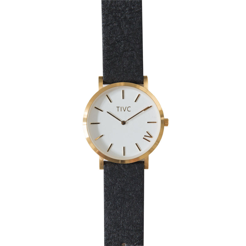 36mm Gold | Pinatex Band (Black) | Vegan Watches & Accessories | ECOMONO