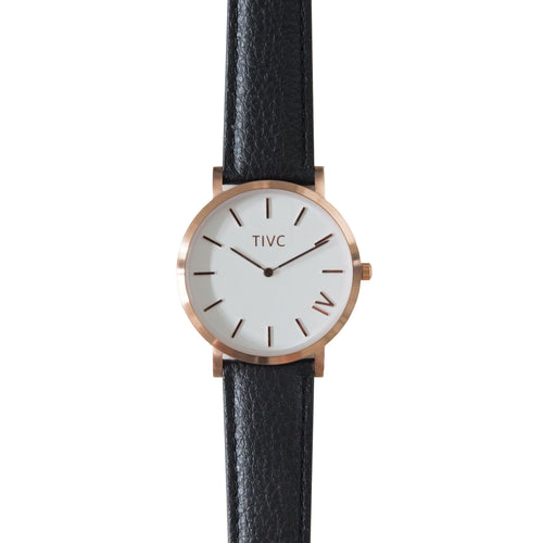 36mm Rose Gold | Black Stitched Band | Vegan Watches | ECOMONO