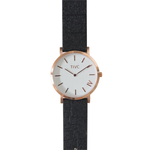36mm Rose Gold | Pinatex Band (Black) | Vegan Watches | ECO.MONO