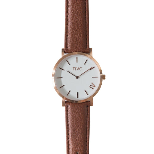 36mm Rose Gold | Tan Stitched Band | Vegan Watches & Accessories | ECOMONO
