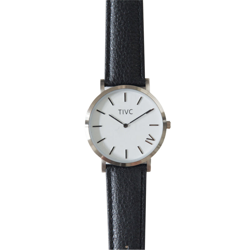 36mm Silver | Black Stitched Band  | Vegan Watches Australia | ECOMONO