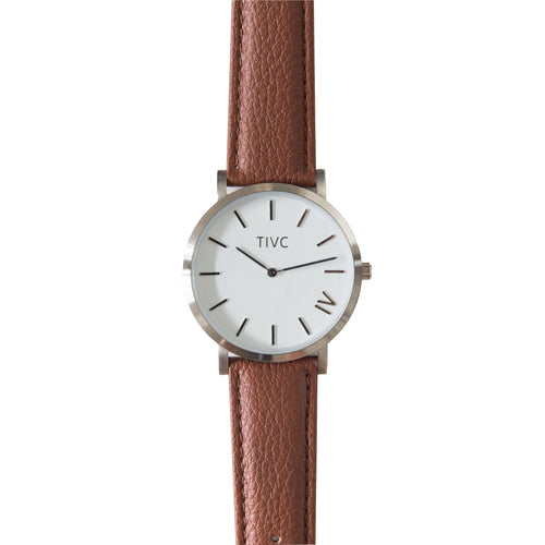 36mm Silver | Tan Stitched Band | Vegan Watches & Accessories | ECO.MONO
