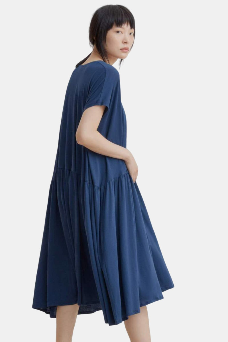 Kowtow Gather Dress Navy | Organic Cotton | Ethical & Fair Trade