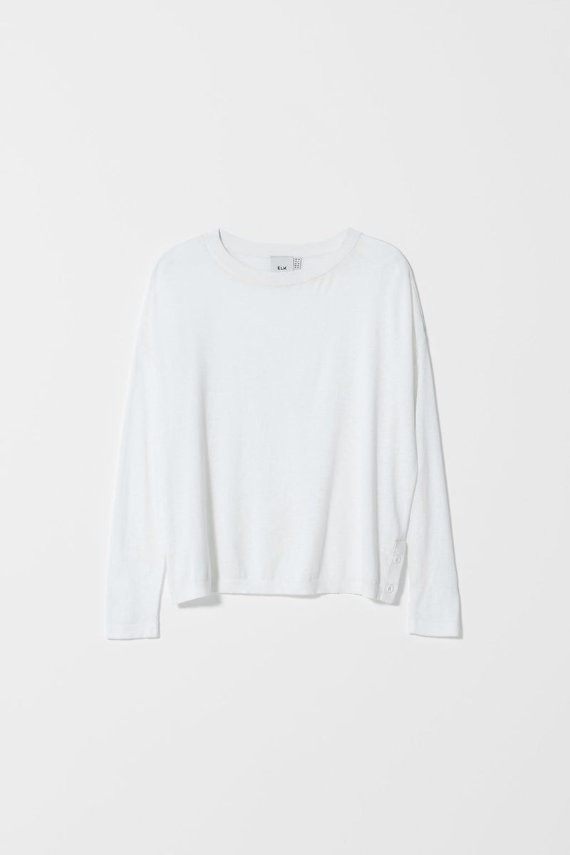 AVESTA LONG SLEEVE SWEATER WHITE | Elk Clothing | Ethical Tops Australia