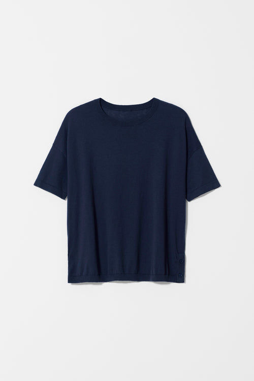 AVESTA SHORT SLEEVE SWEATER NAVY| Ethical Fashion Australia | ECO.MONO | Melbourne | Spring Summer
