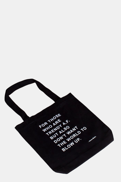 Ahimsa Collective Ban the Bag - Trendy AF Black Tote Bag | Vegan Bags