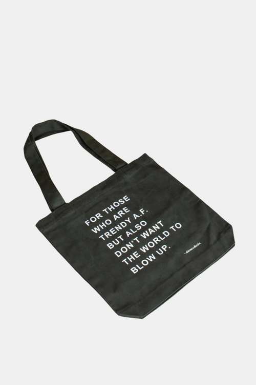 Ahimsa Collective Ban the Bag - Trendy AF Olive Tote Bag | Vegan Bags