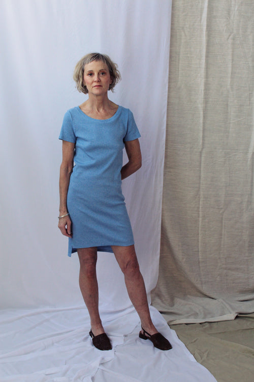 Lois Hazel Smooth Rib Tee Dress Blue | Ethical Fashion Australia | ECO.MONO | Melbourne Designer