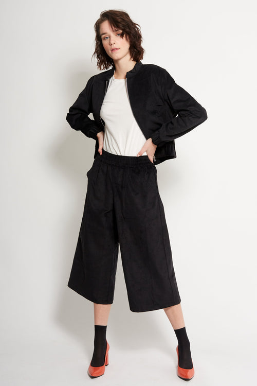 Black Corduroy Culottes | Ethical & Sustainable Fashion Australia | ECO.MONO