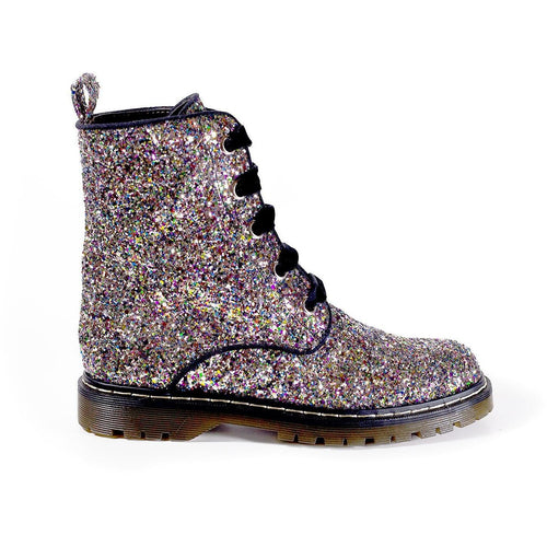 Billie Silver/Multicolour Glitter Vegan Combat Boots | Ethical Shoes Australia | Vegans Shoes | Melbourne