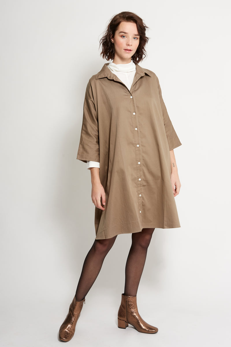 Organic Flare Shirt Dress (Khaki)
