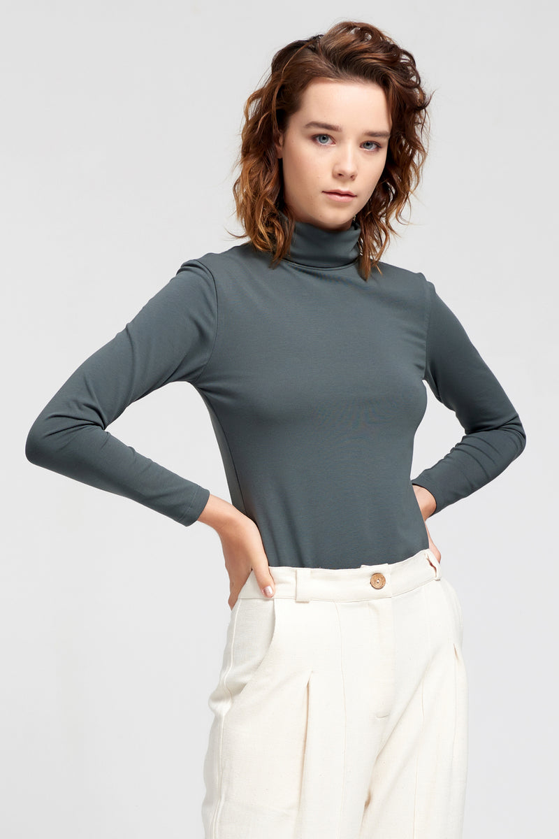 DORSU | Forest Grey Long Sleeve Turtleneck| Ethical & Sustainable Fashion | ECO.MONO