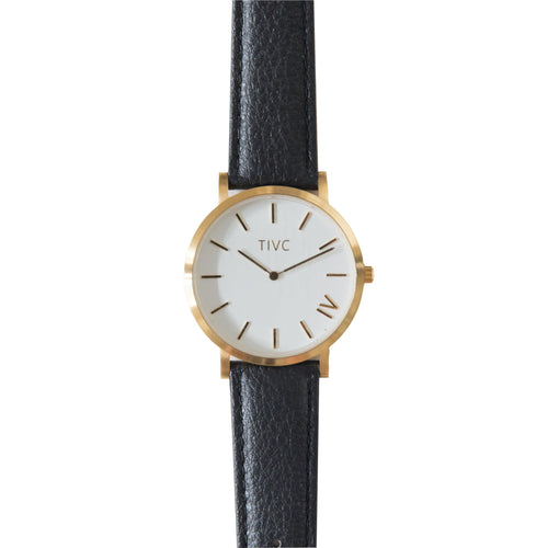 Gold | Black Stitched Band | Vegan Watches & Accessories | ECOMONO