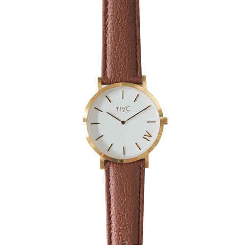 Gold | Tan Stitched Band | Vegan Watches & Accessories | ECOMONO