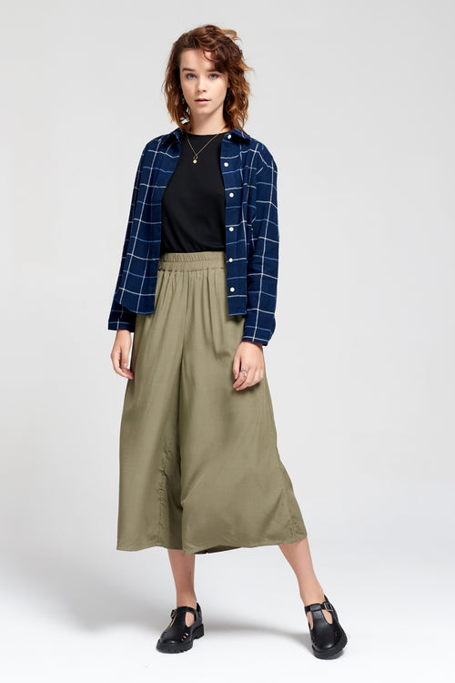 Theo The Label | Khaki Bamboo Culottes | Ethical & Sustainable Fashion Australia
