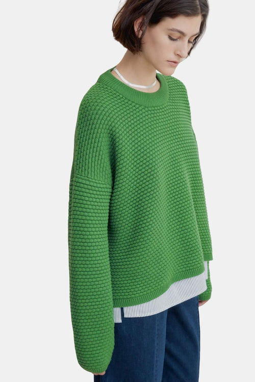 Kowtow Bubble Crew Green | Organic Cotton | Winter Jumper | Eco Friendly