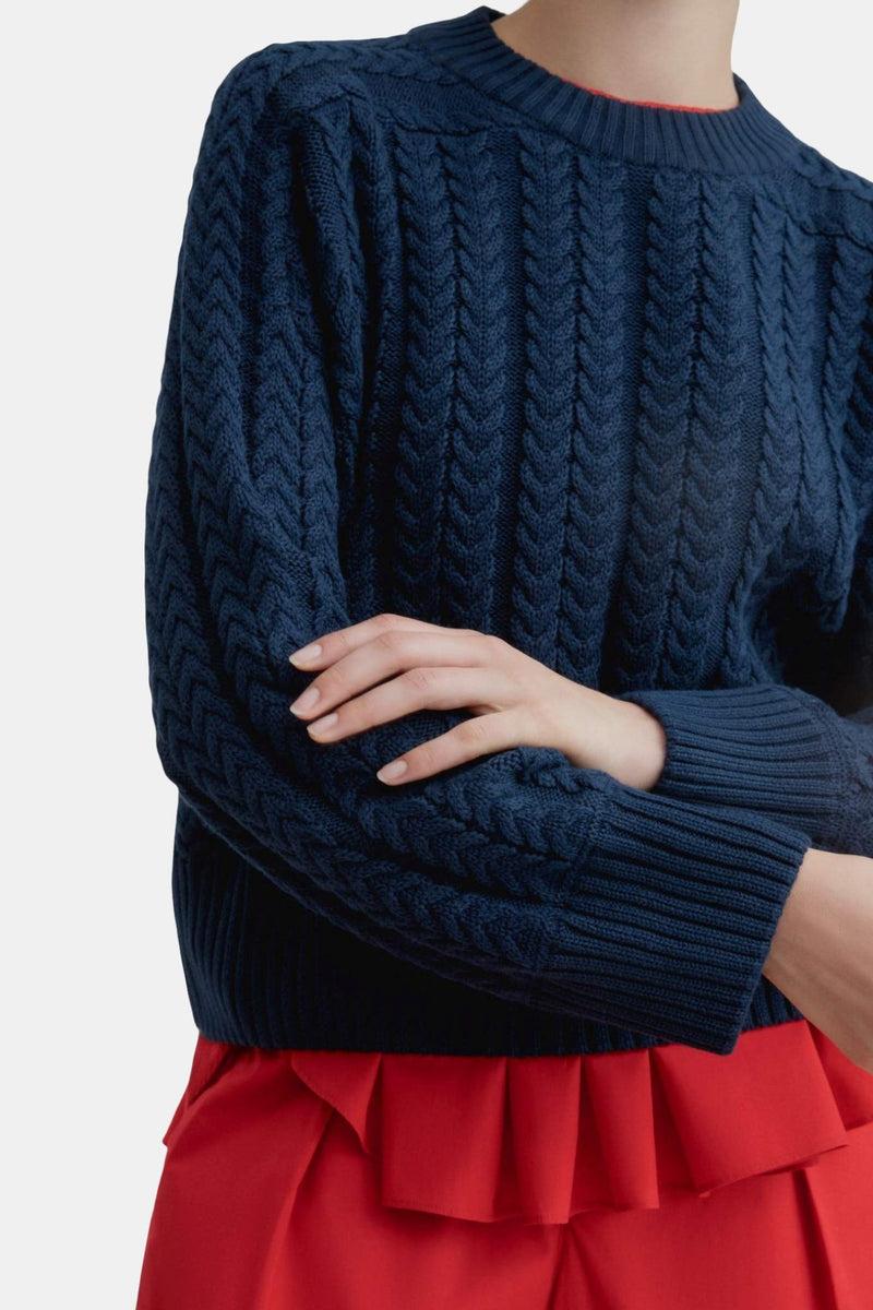 Kowtow Cable Sweater Navy | Organic Cotton | Winter Jumper | Eco Friendly