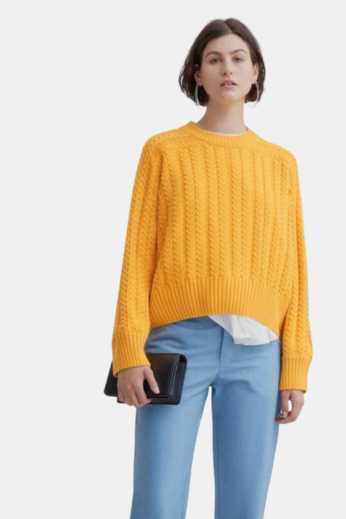 Kowtow Cable Sweater Yellow | Organic Cotton | Winter Jumper | Eco Friendly