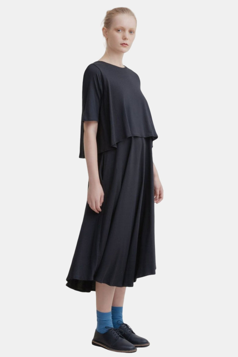 Kowtow Double Layer Dress Black | Ethical Black Dress | Organic Cotton