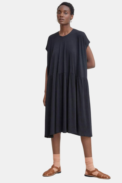 Kowtow Gather Dress Black | Organic Cotton | Ethical Black Dress