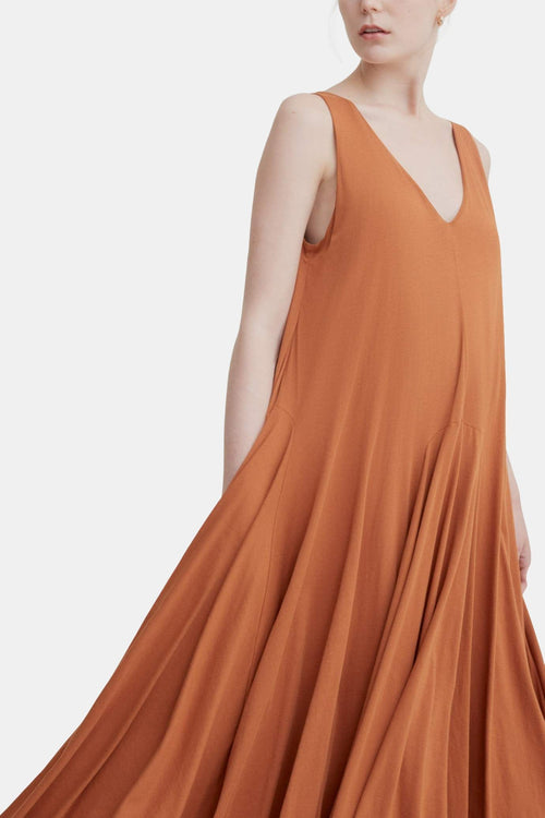 Kowtow Volume Dress Copper | Organic Cotton | Ethical Black Dress