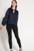 Leva Navy Linen Cotton Blouse