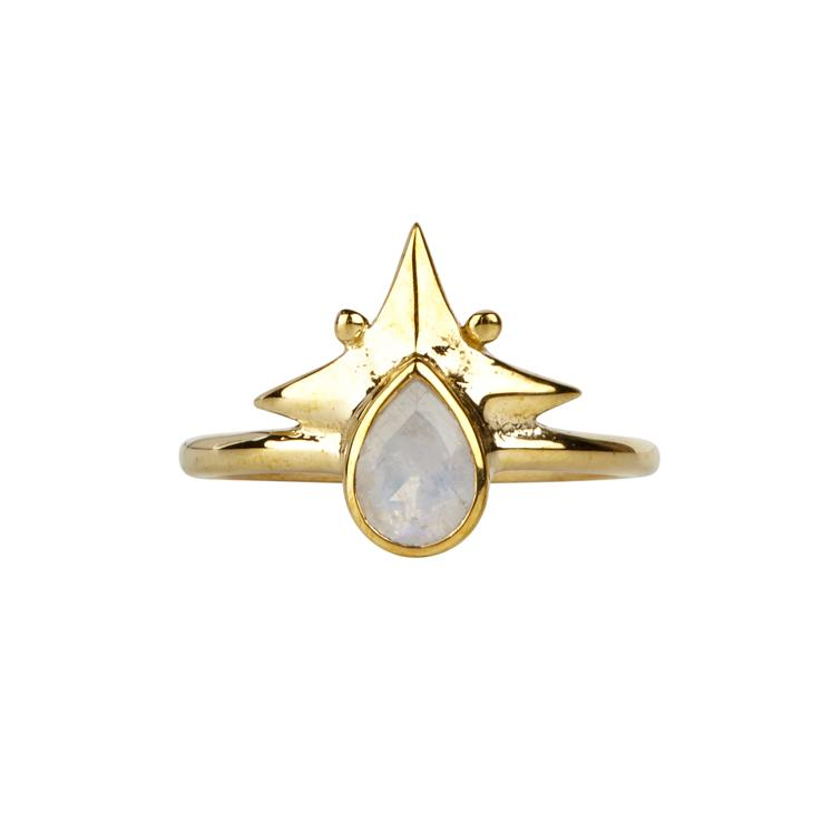 Little Star Ring Gold & Rainbow Moonstone