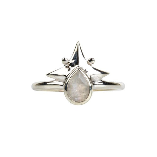 Little Star Ring Silver & Rainbow Moonstone