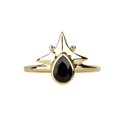 Little Star Ring Gold & Black Onyx