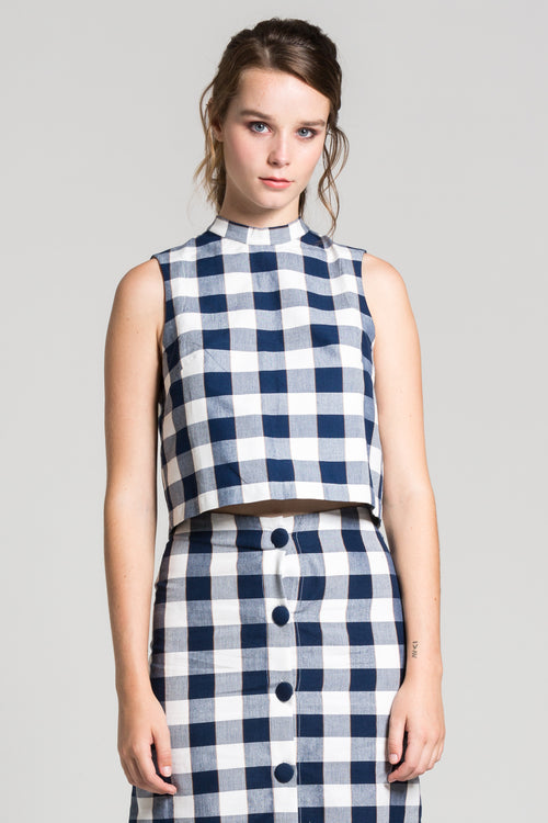 Navy Chequered Charlie Top