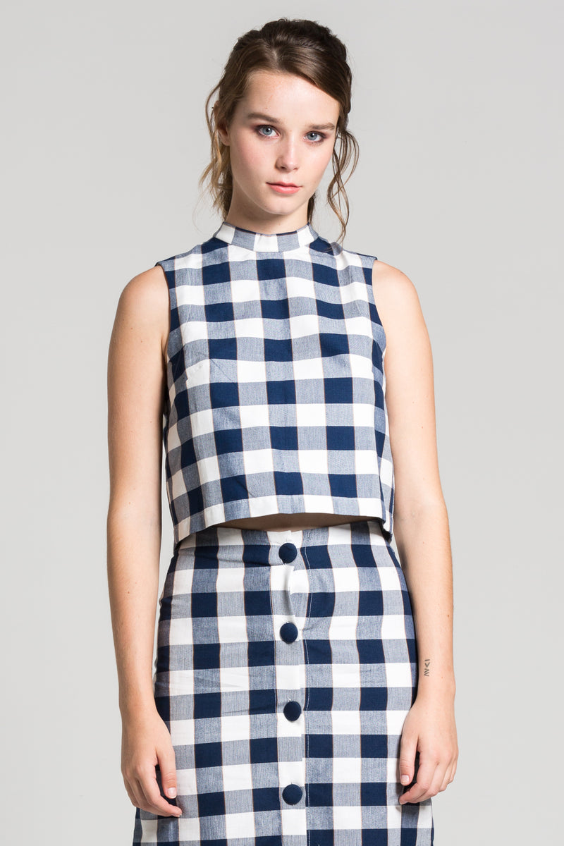 Navy Checkered Charlie Top