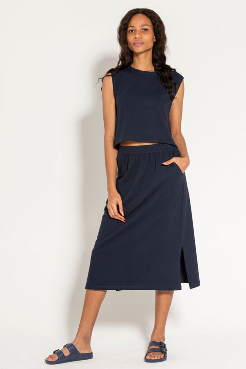 Navy Mid length Skirt